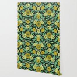 Seafoam Green, Chartreuse, Mustard Yellow & Navy Blue Floral Pattern Wallpaper