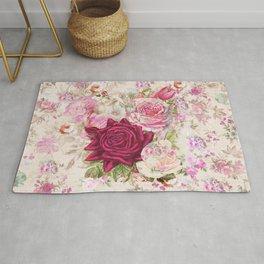 Vintage bohemian pink lavender roses flowers Rug