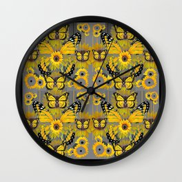 CONTEMPORARY MONARCH BUTTERFLY SUNFLOWERS MONTAGE Wall Clock