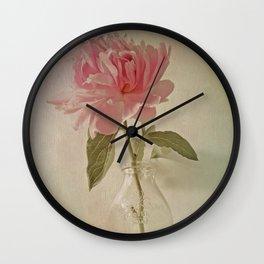 Peony Flower in Vintage Milk Bottle Botanical Still Life Wall Clock
