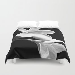 White Flowers Black Background Duvet Cover