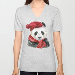 Panda Bear with Hat and Scarf Watercolor Unisex V-Neck