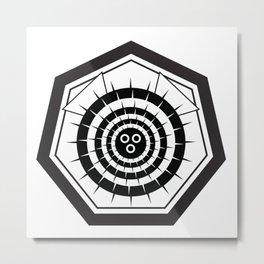Fugu Japanese Crest (Black) Metal Print