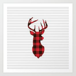 Plaid Deer Head on Minimal Stripes Art Print
