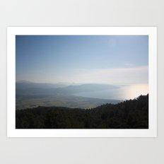 Cool Blue Sky and Green Plains of Gokova from Sakartepe Art Print