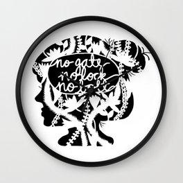 No Gate, No Lock, No Bolt in Black and White Wall Clock