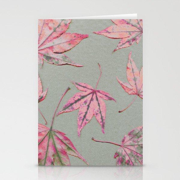 Japanese maple leaves - apricot on light khaki green Stationery Cards