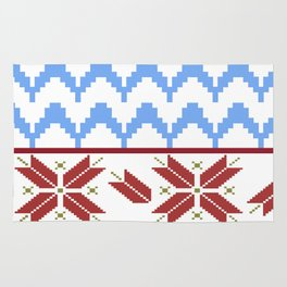 Fair Isle Sleighride on Snow pattern by LorLoves Design Rug