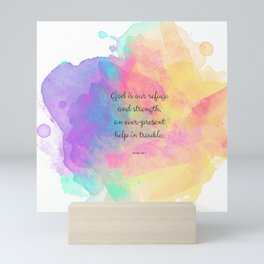 Psalm 46:1, God is our Refuge, Scripture Quote Mini Art Print