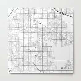Surrey Map, Canada - Black and White Metal Print