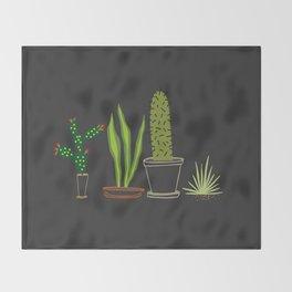 Cactus Trio (Black) Throw Blanket