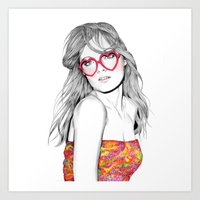 lolita Art Prints featuring Lolita by label tania