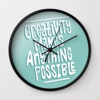 creativity Wall Clocks featuring Creativity by Chelsea Herrick
