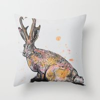 jackalope Throw Pillows featuring Jackalope by Joseph Kennelty