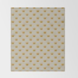 Mini George Grey with Gold Crowns Throw Blanket