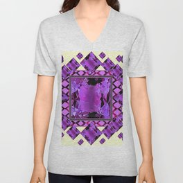 ART DECO PURPLE AMETHYST FEBRUARY GEM BIRTHSTONE MODERN ART Unisex V-Neck