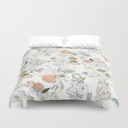Elegant abstract coral pastel blue modern rustic floral Duvet Cover