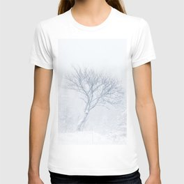 Lonely tree during snow storm in winter T-shirt