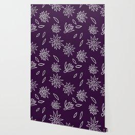 Dark Purple Falling Flora Pattern 1 Wallpaper
