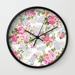 Elegant country green pink white blue paisley floral Wall Clock