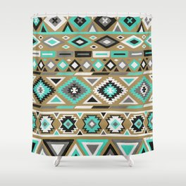Mixed Tribal Pattern – Turquoise and Kraft Shower Curtain