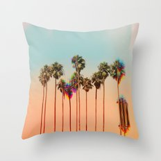 Glitch beach Throw Pillow