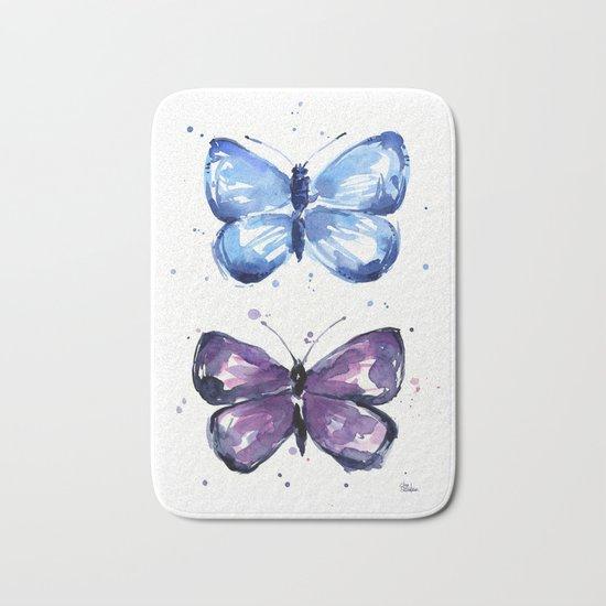 Butterflies Watercolor Blue and Purple Butterfly Bath Mat