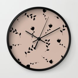 leaves and flowers pattern Wall Clock