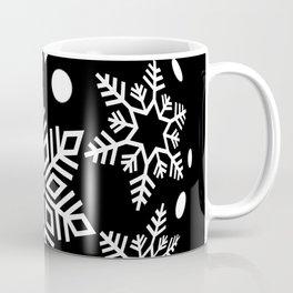 Snow Flakes Christmas Bauble - White on Black Coffee Mug