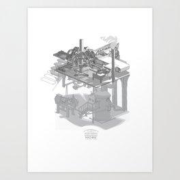 Fully Automatic Steam-Powered Screen Printing Machine Art Print