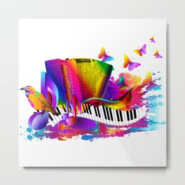 Colorful music instruments , accordion design Metal Print