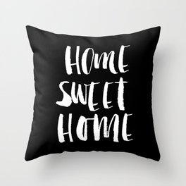 Home Sweet Home watercolor modern black and white minimalist typography home room wall decor Throw Pillow