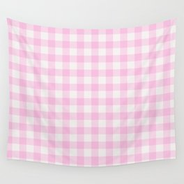 Blush pink white gingham 80s classic picnic pattern Wall Tapestry