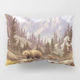 Grizzly Bear Landscape Pillow Sham