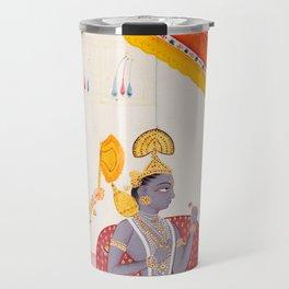 Krishna  - Vintage Indian Art Print Travel Mug