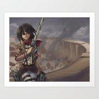 mikasa Art Prints featuring Mikasa by NUNBAY