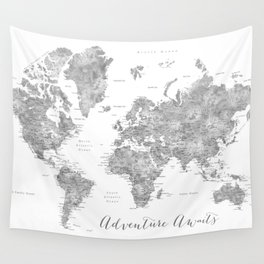 Adventure awaits... detailed world map in grayscale watercolor Wall Tapestry