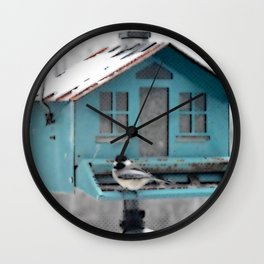 Winter Chickadee Feeding | Bird | Birds | Nadia Bonello | Canada Wall Clock