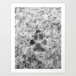 Paw Print in Snow Art Print