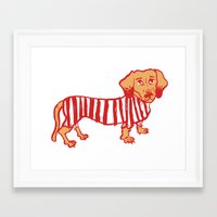 daschund Framed Art Prints featuring Sausage Dog by sophieheywood