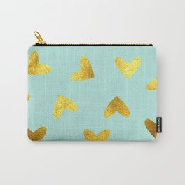 gold heart pattern blue Carry-All Pouch