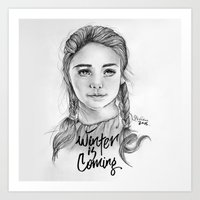 arya Art Prints featuring Arya stark by Nicolaine
