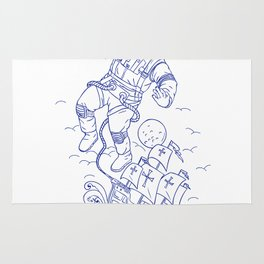 Astronaut Tethered Caravel Ship Drawing Rug