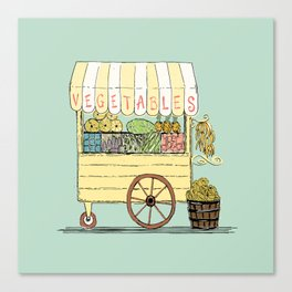 Veggie Cart on Mint Canvas Print