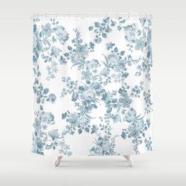 Vintage blue white bohemian elegant floral Shower Curtain