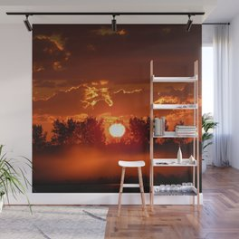 Flaming Horses over the Foggy Sunrise Wall Mural