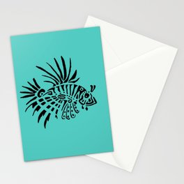 Poisson lion - turquoise Stationery Cards
