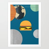 hamburger Art Prints featuring hamburger by Ediol Shkembi