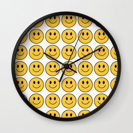 Smiley Face Pattern - White Background Variant Wall Clock