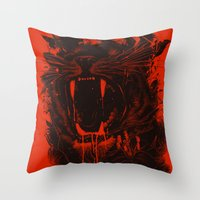 king Throw Pillows featuring The King by nicebleed